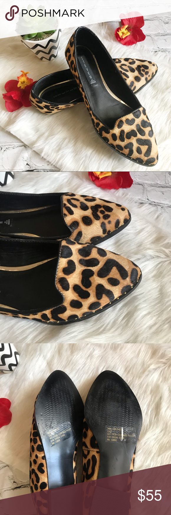 """ce496eb0a9f Steven by Steve Madden Leopard Calf Hair Loafers Excellent used condition  Genuine Calf Hair """"STEPHIEE"""" leopard loafers. Barely worn."""