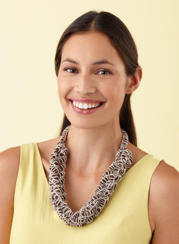 Two Stitch Knit Necklace Pattern | Naszyjnki | Pinterest | Knitted ...