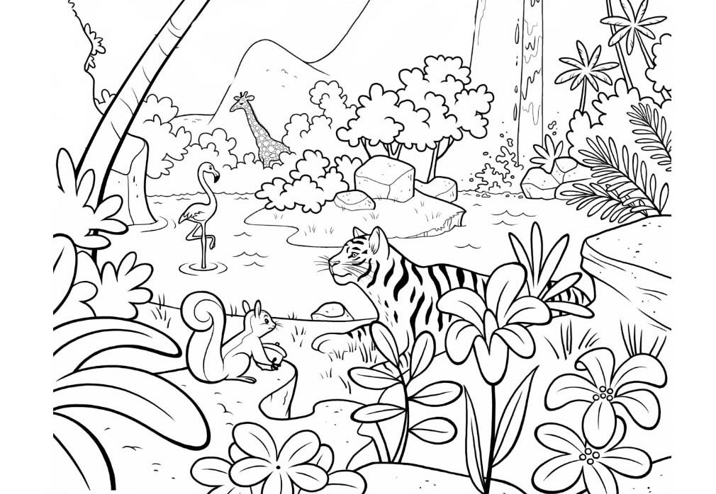 Rainforest And Jungle Animals Coloring Page Free To Print Out Letscolorit Com Jungle Coloring Pages Rainforest Animals Animal Coloring Pages