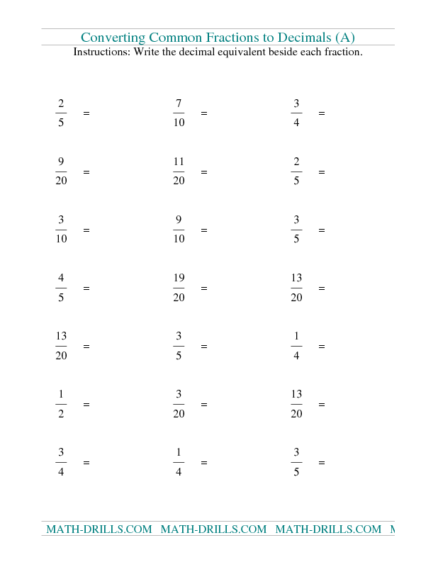 Fractions Worksheet Convert Fractions To Decimals A Math