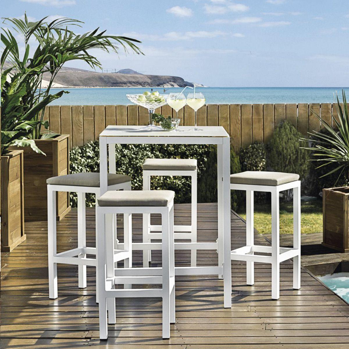 Set bar de jardín El Corte Inglés Madison: 1 mesa + 4 taburetes 399€  #VidaAlAireLibre #deco #jardín #terraza