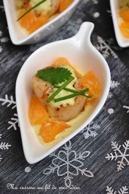 Mise en bouche de noix de Saint-Jacques snackées aux clémentines et sauce au curry {apéro-Noël-fêtes} -Ma cuisine au fil de mes idées ! #verrinesapero