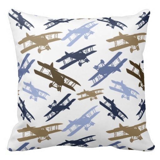 Vintage Biplane Airplane Pattern Blue Brown Pillow SOLD on Zazzle