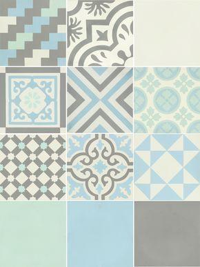 Carreau De Ciment Belle époque Décor Gris, Bleu, Vert Et Blanc, L.20xL.20cm  #leroymerlin #carreauxdeciment #carrelage #ideedeco #madecoamoi