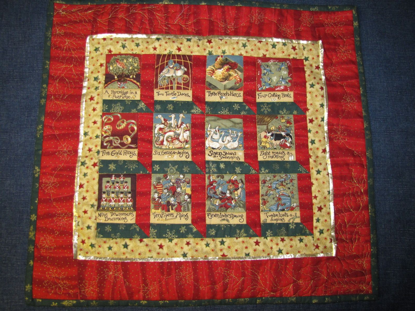 12 Days of Christmas by Maureen Eberhardt Using a Christmas panel, this mini quilt was machine pieced and quilted after attending a workshop on mitering corners.  A gold lame flange or peeper strip was inserted between the two borders.  The outer border was quilted with a holly and snowflake design using gold metallic thread.