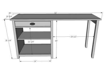 schematics/plans for a simple computer desk. | Living Room, Home ...