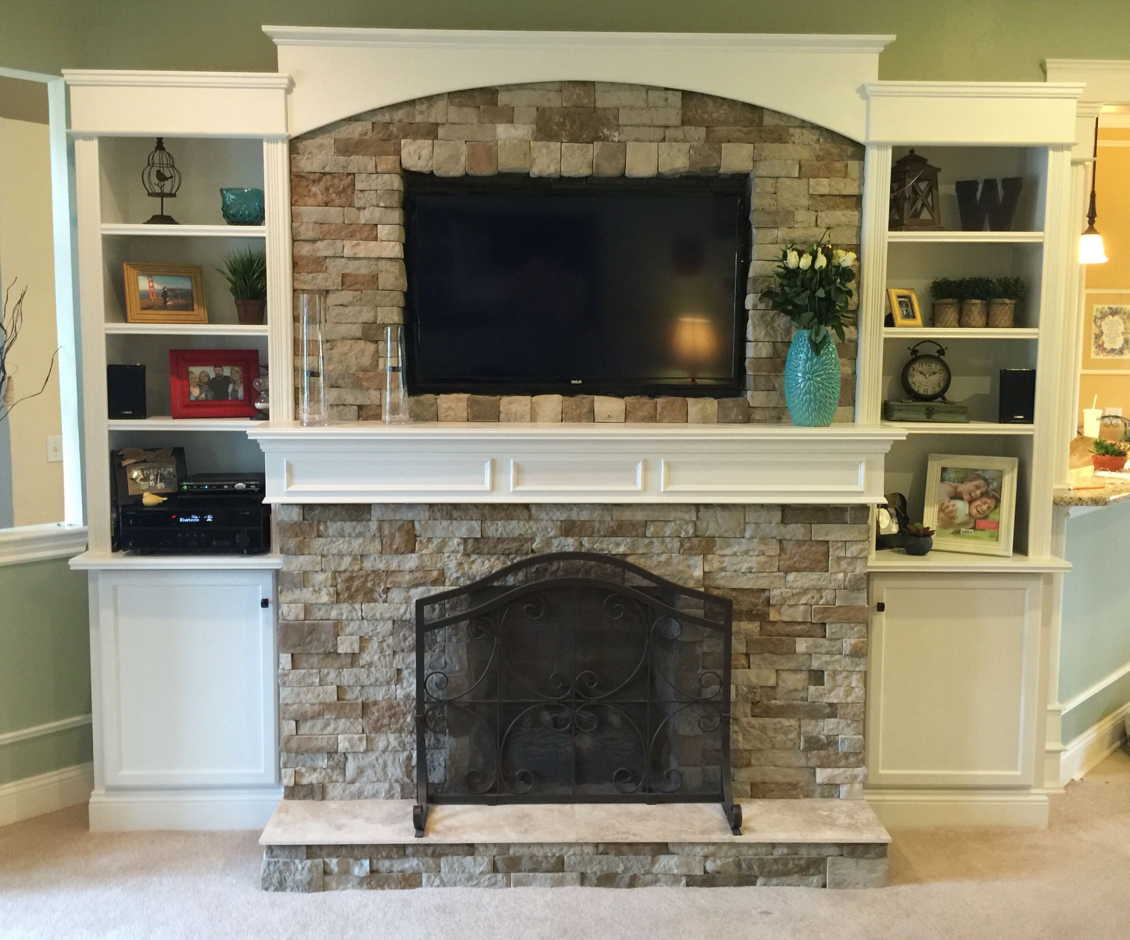 Finished product homemade fireplace and built in Fireplace setting ideas
