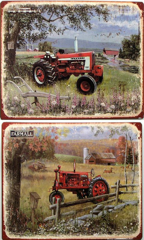 Tin Farmall Tractor Plaques 2 Assorted Listing in the Wall Hangings ...