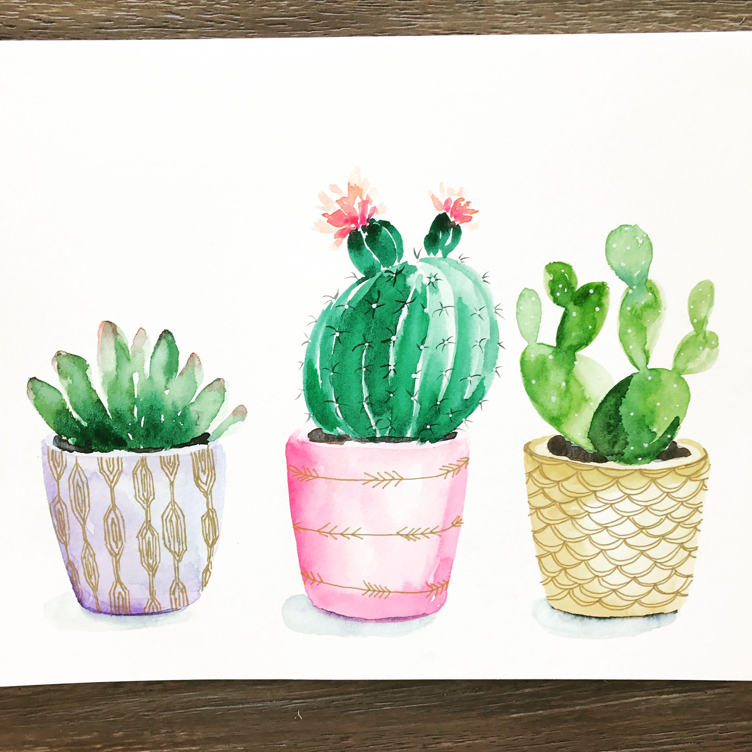 Instagram Pricklypearpaints Succulent Pots Watercolor