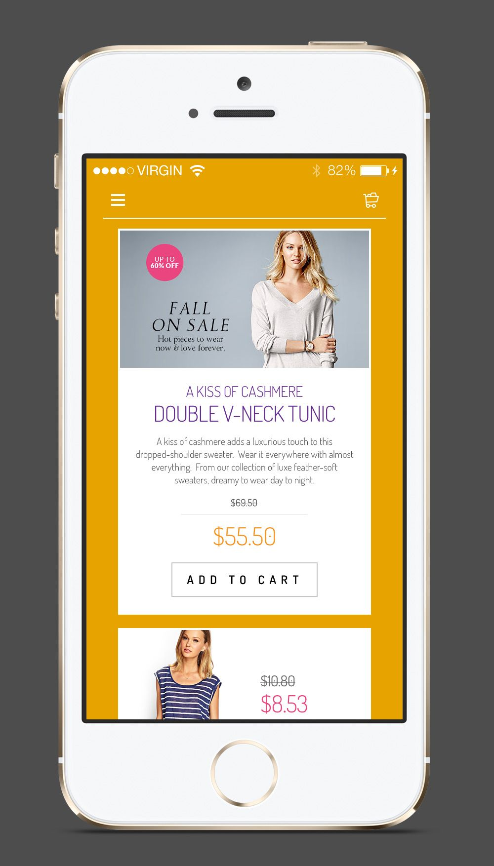 iphone shopping mobile app template psd