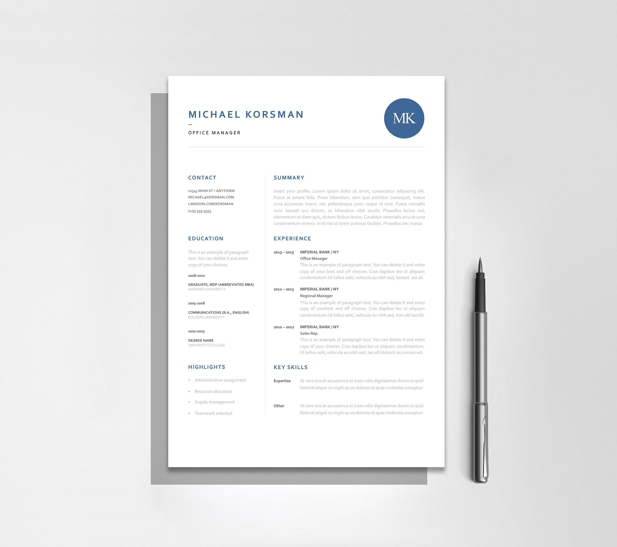Classic Resume Template [120190] Best resume template
