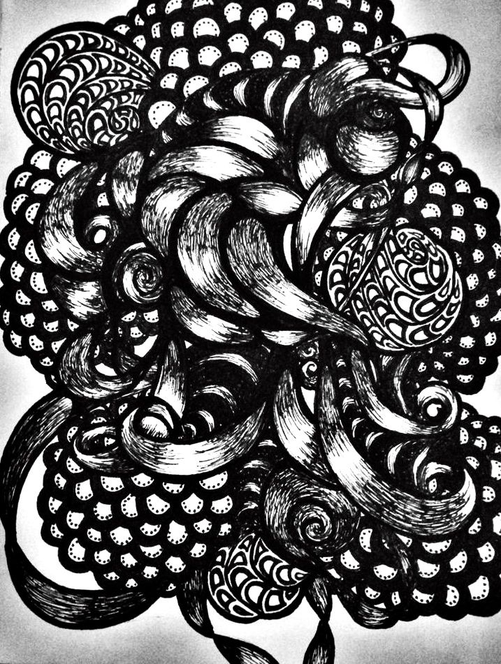 Pen And Ink Design Doodles Hypnotic Blackandwhite