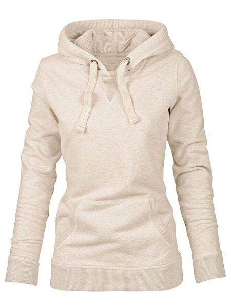 6c1aa02de Simple Hooded Long Sleeve Pocket Design Hoodie For Women | clothing ...