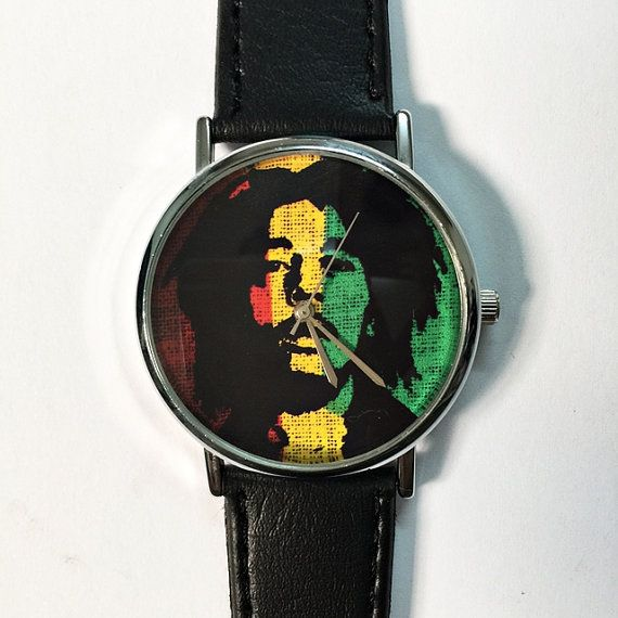 Bob Marley Reggae Colored Watch,  Vintage Style Leather Watch, Men's Watch, Women Watches, Boyfriend Watch,