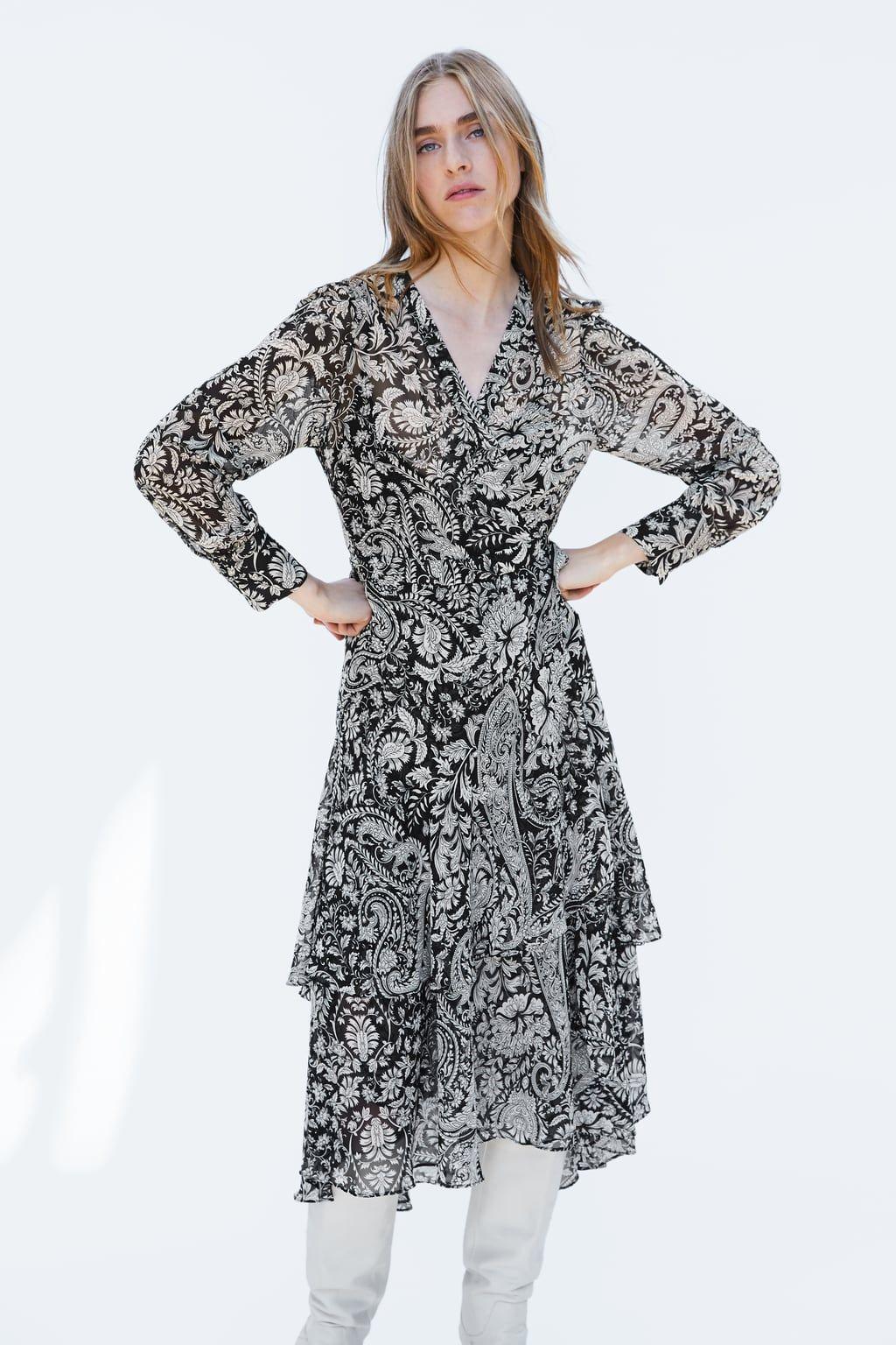 6fd2a1374303 Floral Print Wrap Midi Dress Pull And Bear