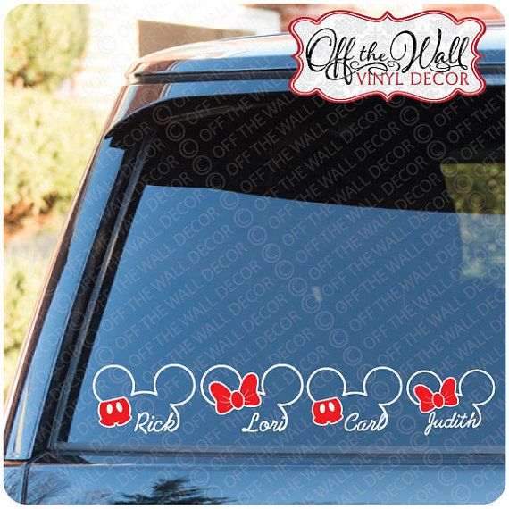 Mickey Minnie Personalized Name Family Vinyl Car Decal Sticker - Family decal stickers for carscar truck van vehicle window family figures vinyl decal sticker