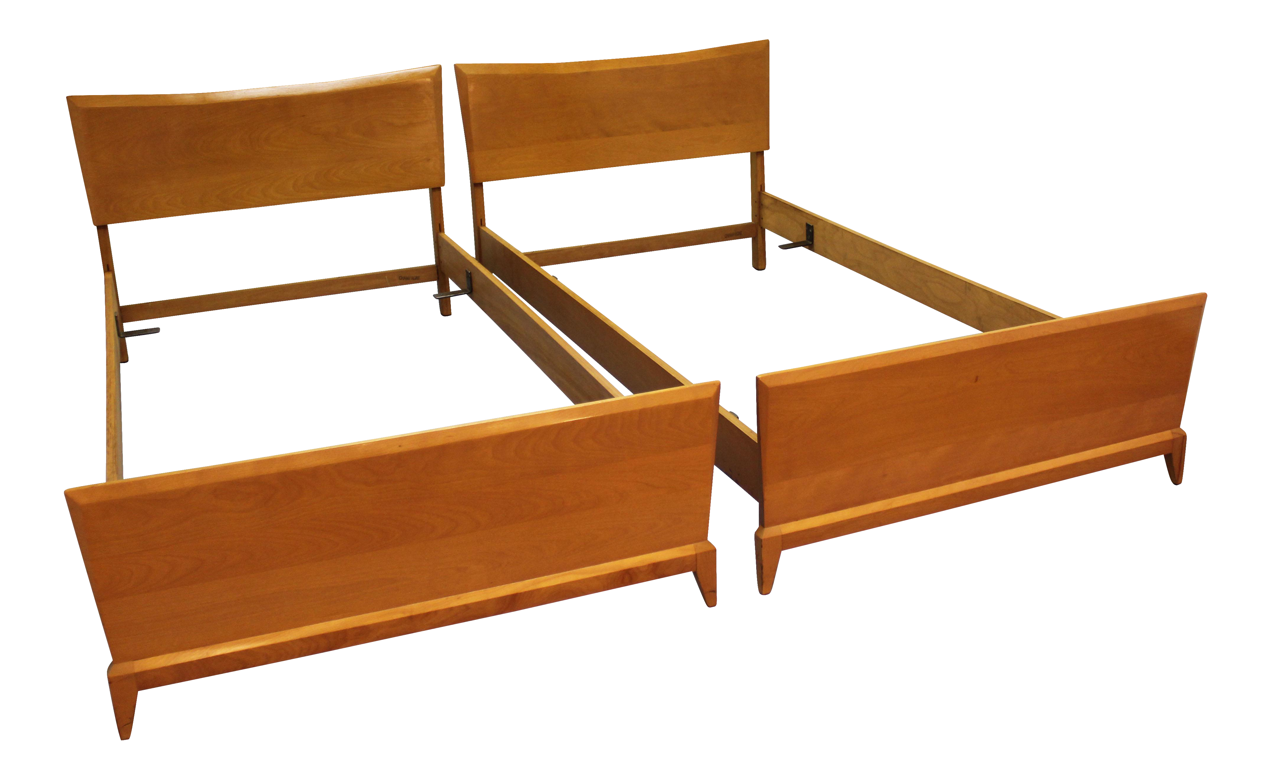 Heywood Wakefield Mid Century Twin Size Bed Frames A Pair Twin