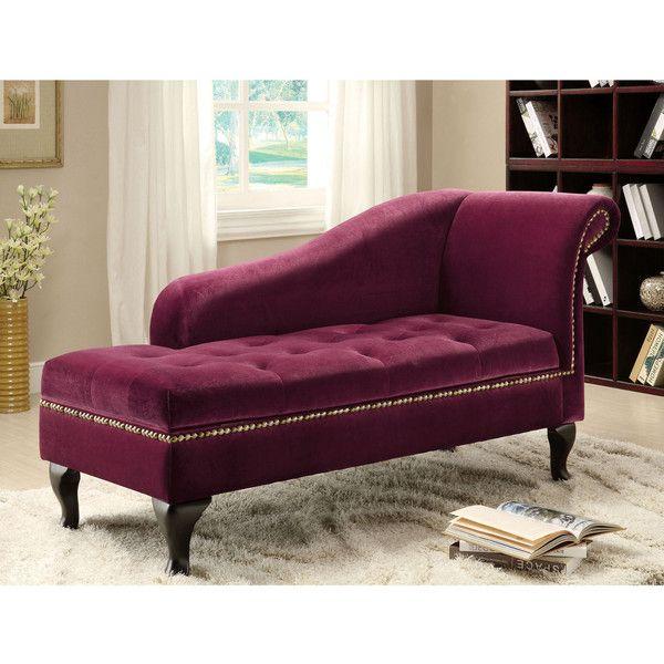 Furniture of America Bizanthe Modern Button Tufted Storage Chaise ...