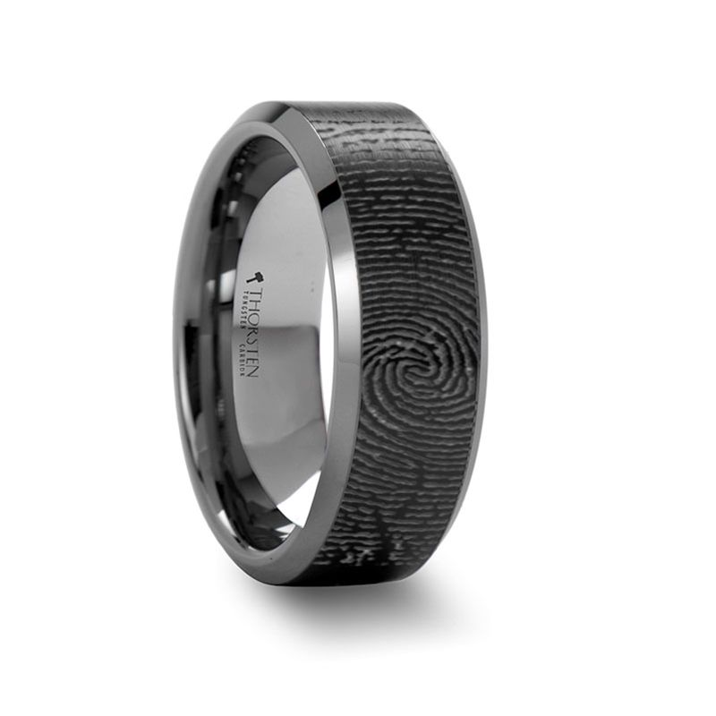 Fingerprint Engraved Flat Black Tungsten Ring With Brushed Finish With Polished Beveled Edge Tungsten Mens Rings Black Black Tungsten Rings Tungsten Mens Rings