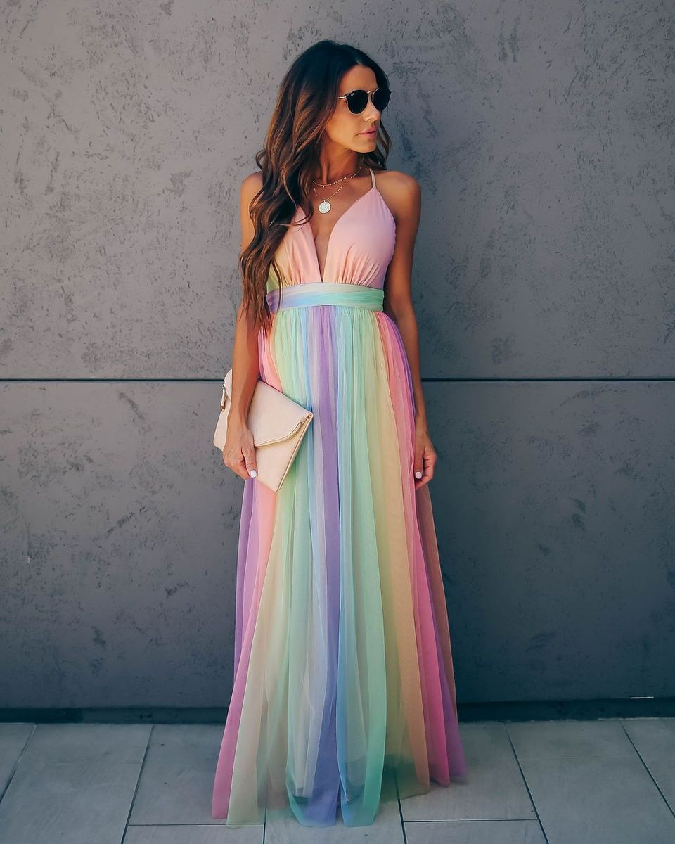 Our Stunning Wonderland Rainbow Striped Maxi Dress Is A Dream Featuring A Pleated Tulle Overlay In Stripes O Striped Maxi Dresses Rainbow Dress Pretty Dresses [ 1200 x 960 Pixel ]