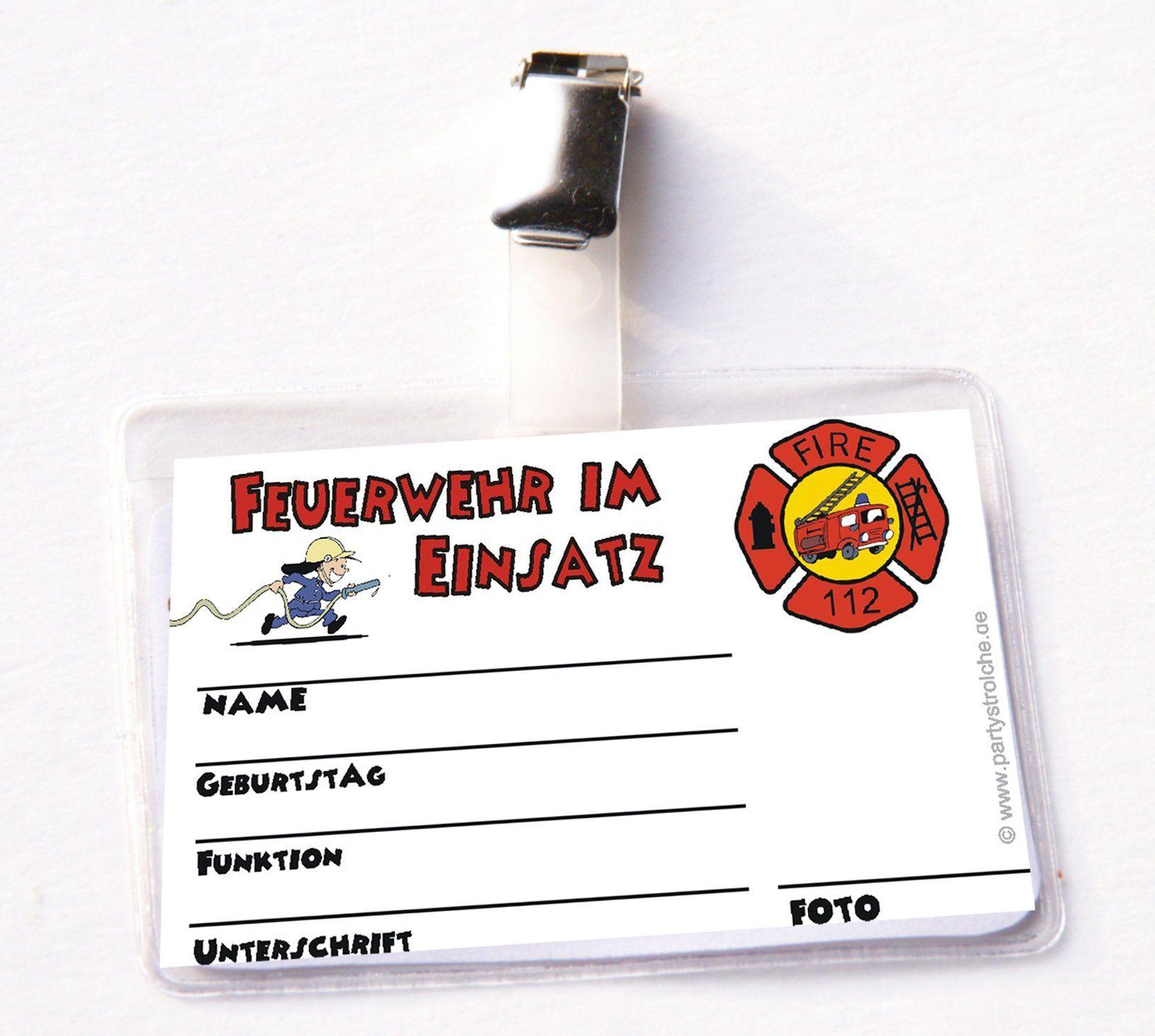 Feuerwehr Ausweis Für Feuerwehrmann Flo Mit Clip Und
