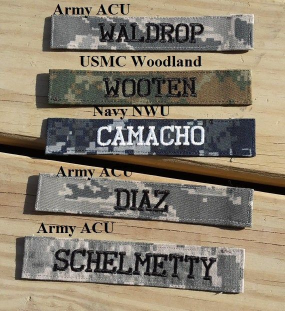 Military Name Tape or Name Patch, Army ACU or Ocp, Marine