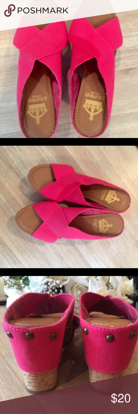 🌸Hot Pink Crown Vintage Wedge Slides- Mint💕 Love a pop of color for your feet ? Look sexy and be comfortable at the same time. These fushia, hot pink canvas wedge criss cross wedge sandals by Crown Vintage are awesome! Gently loved - wore maybe 2-3 times . Excellent condition! Crowne Vintage Shoes Wedges
