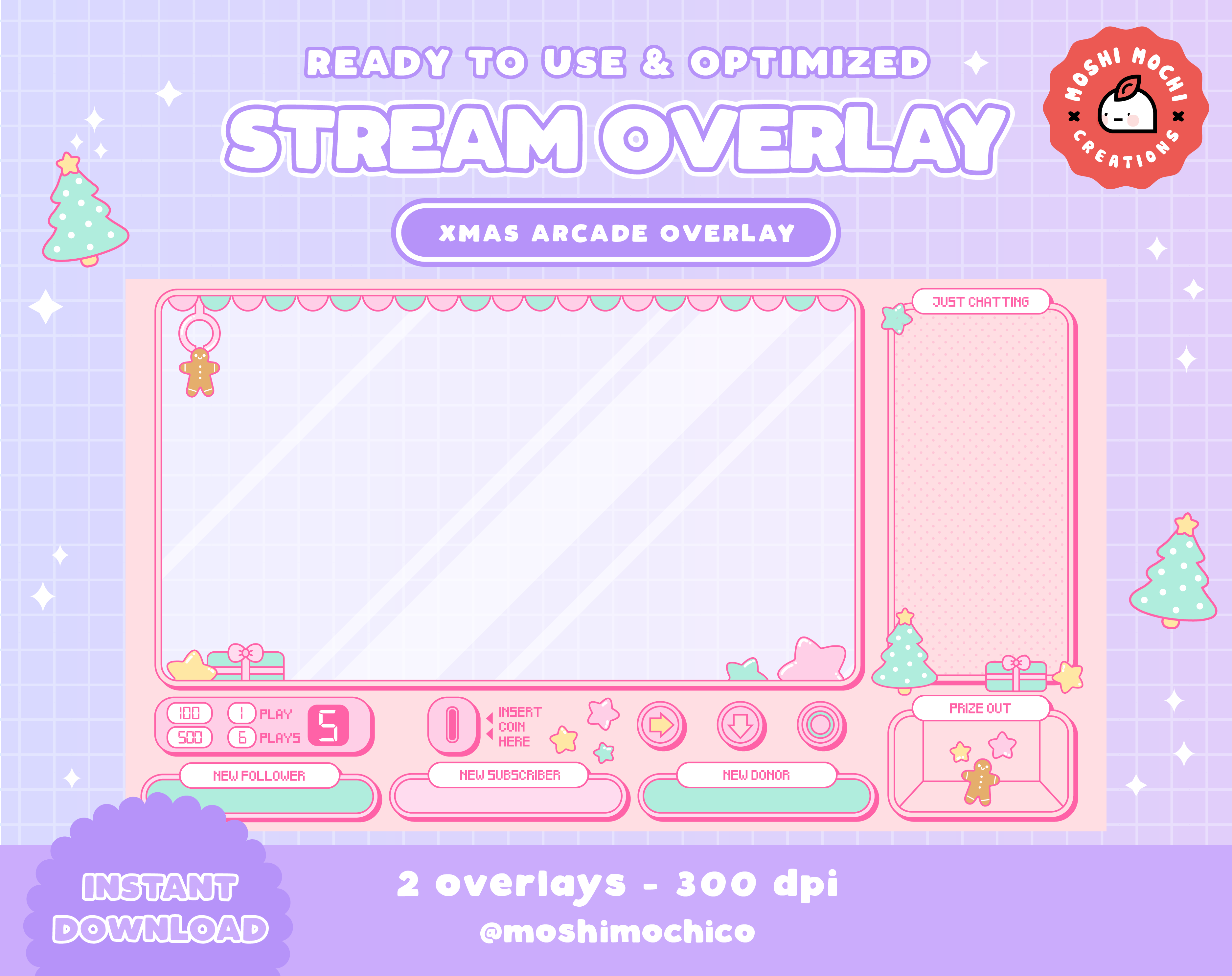 Twitch Stream Overlay Cute Christmas Xmas Arcade Crane Machine Version 2 Streamer Graphics Kawaii Streamer Pastel Japanese In 2021 Overlays Cute Overlays Crane Game