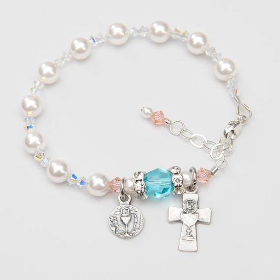 71f68b440 First Holy Communion Gift for Girls - Swarovski Crystal Rosary Bracelet -  White Pearls, Light Turquoise, Peach Accents - Personalized Date