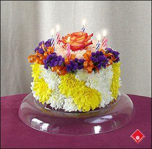 birthday cake floral arrangement Floral Birthday Cake in