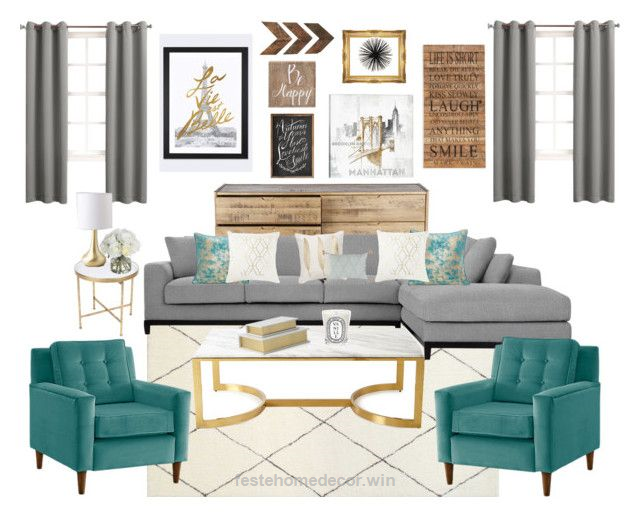 Grey Turquoise Gold Living Room By Theofficialreginamarie On