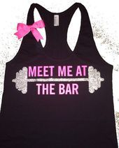 Meet Me at The Bar - Racerback Tank - Black Tank - Fitness Tank - Gym Tank - Workout Tank - Workout...