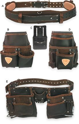 McGuire Nicholas Handyman Carpenter Leather Tool Bag Apron w// Belt Brown Suede