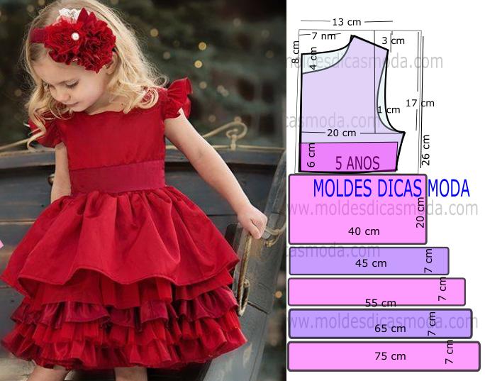 6e75c81db Passo a passo corte e costura de molde vestido vermelho 5 anos com medidas.  Este