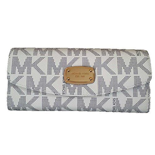 Michael Kors Jet Set Slim Flap Wallet (Navy/White). Michael Kors compact pin dot monogram print PVC wallet with gold toned hardware. Flap with front snap closure. Slip pocket in the back. Interior features 3 slip pockets, 1 zip pocket, and 6 card slots; Zippered pocket is gusseted with 3 compartments. Approx. dimensions: 7.75 in (L) x 3.5 in (H) x 1.5 in (W).