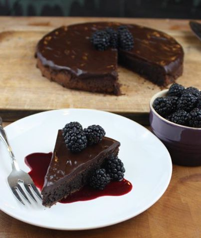Flourless Chocolate Torte with Blackberry Coulis