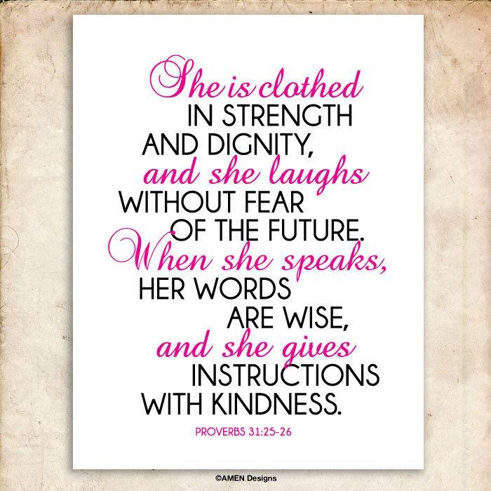 She Proverbs 3125-26 Printable Christian Art Bible Verse