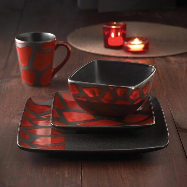 16 pc dinnerware set red black square dishes modern glazed earthenware plate #AmericanAtelier & Blue Dinnerware Set Dish Double Bowls Service 4 Contemporary ...