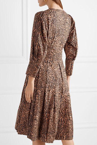 Ulla Johnson - Bernadette Pleated Printed Cotton-poplin Dress - Taupe