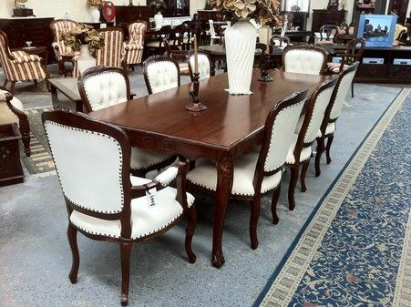 French Provincial Louis Dining Set 8 Seater Solid Mahogany