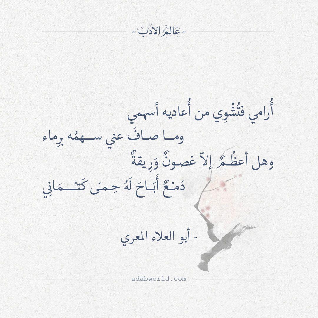 أرامي فتشوي من أعاديه أسهمي أبو العلاء المعري عالم الأدب Quotes Deep Life Quotes Quotes