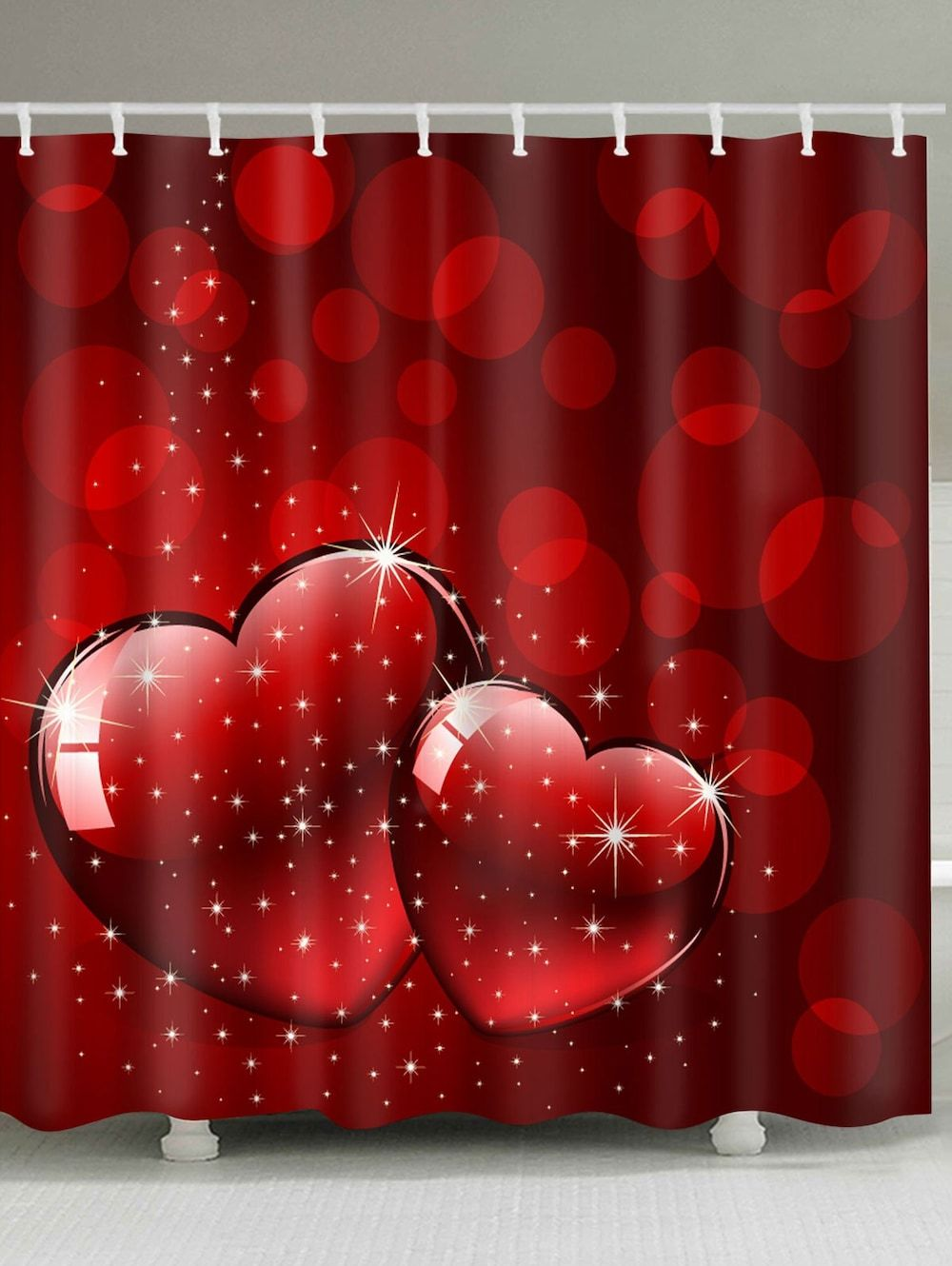 Buy Shower Curtains Online Valentine S Day Starlight Heart Print Waterproof Shower Curtain