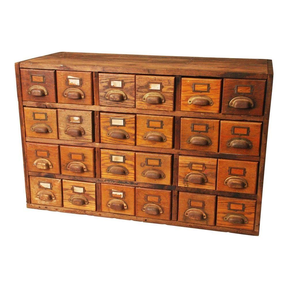 Vintage Wood Card Catalog File 24 Drawer Cabinet Industrial Storage Box Wooden Filing Cabinet Industrial Storage Boxes Wooden Drawer Organizer