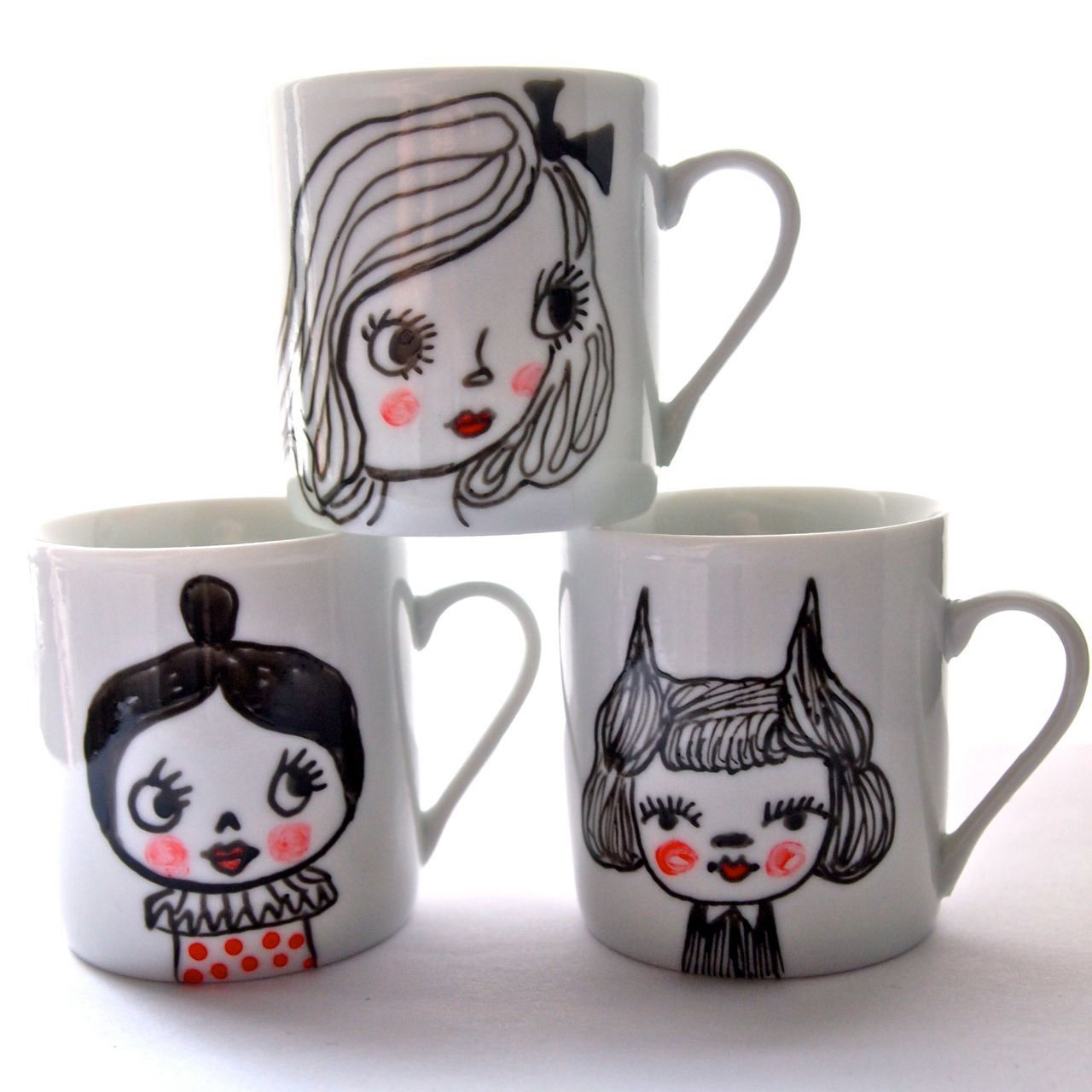 Hand painted mini mug hand drawn white porcelain mug cat girl and black cat. £6.50, via Etsy.