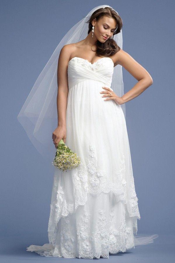 2 Tier Lace Trim Empire Maternity Plus Size Tulle Wedding Dress