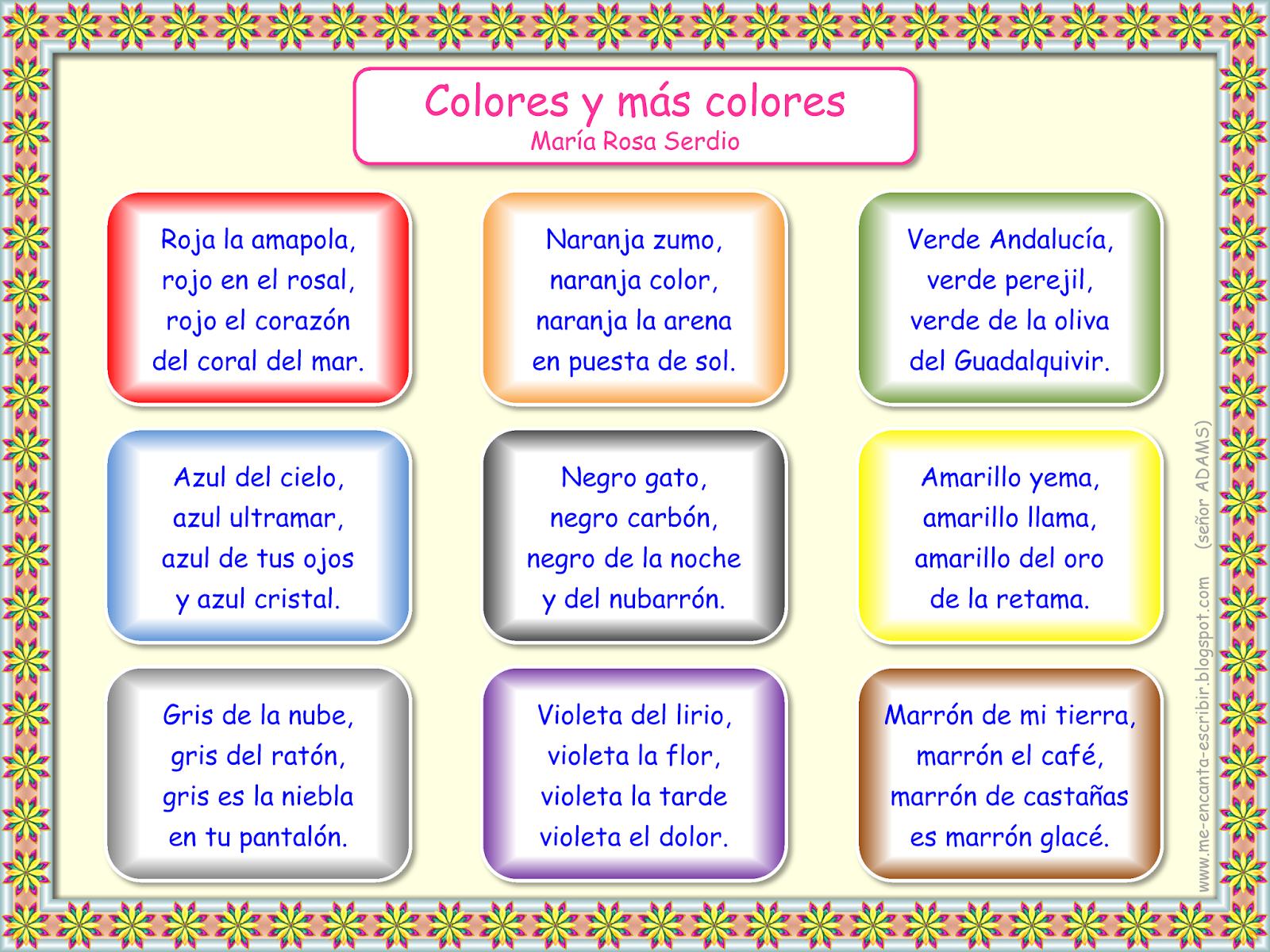 Spanish Poems For Kids Short Color Poems In Spanish