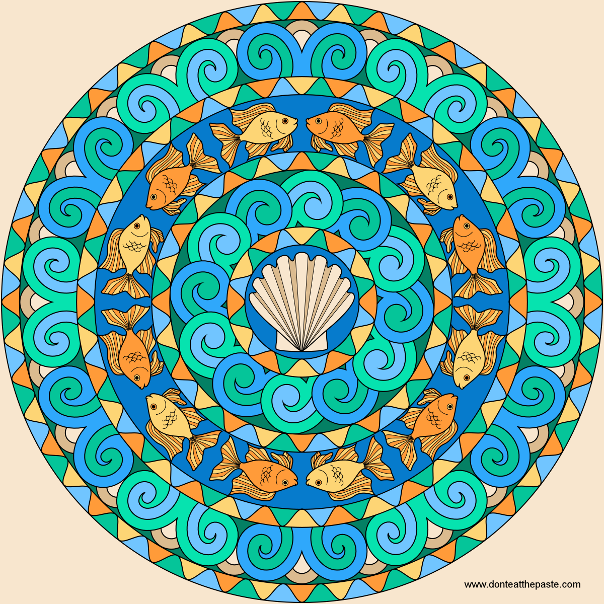 Goldfish Mandala To Color Mandala Mandala Coloring Mandala Coloring Books