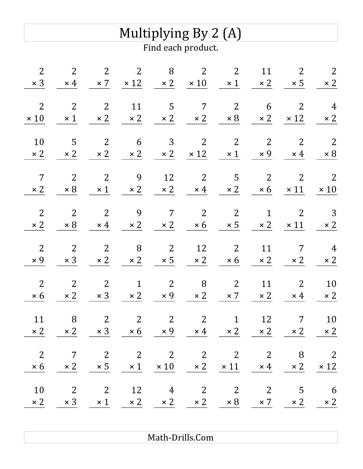 The Multiplying 1 to 12 by 2 A math worksheet from the – Math Speed Drills Worksheets