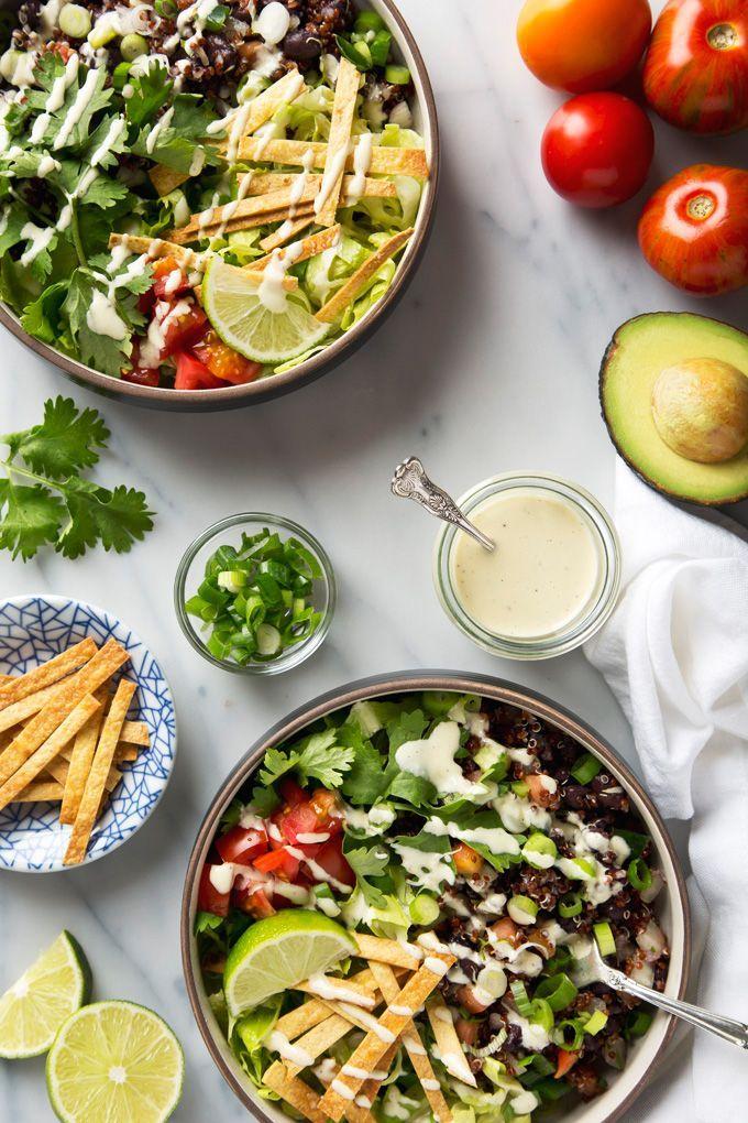 Vegan Quinoa Taco Salad Recipe With Garlicky Cashew Cream