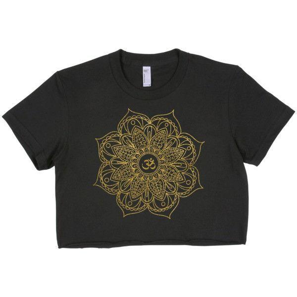 Mandala Namaste Gold Short Sleeve Cropped T-Shirt